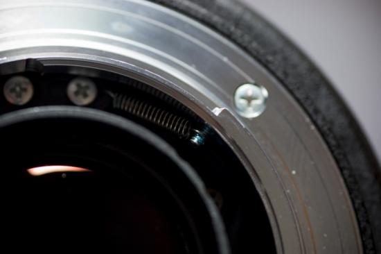 View of spring when mount is secured on the lens